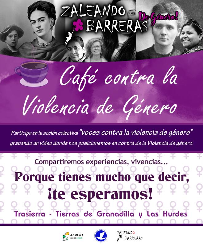 """""""Un café contra la violencia de género"""" acción colectiva """"Voces contra la violencia de género""""."""