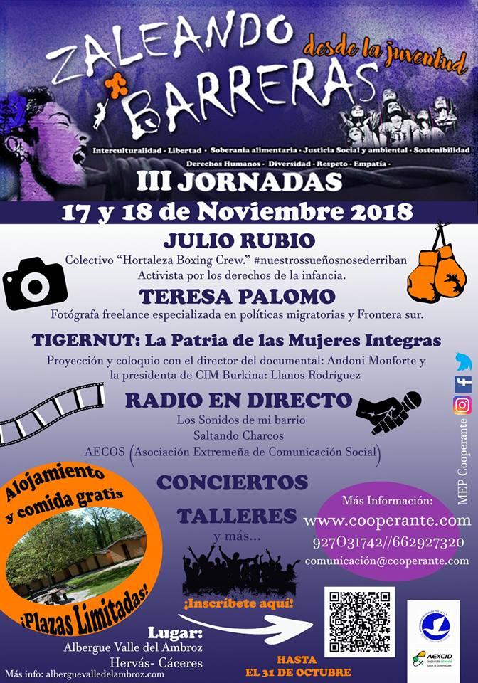 17 Y 18 DE NOVIEMBRE   III JORNADAS ZALEANDO BARRERAS desde la JUVENTUD