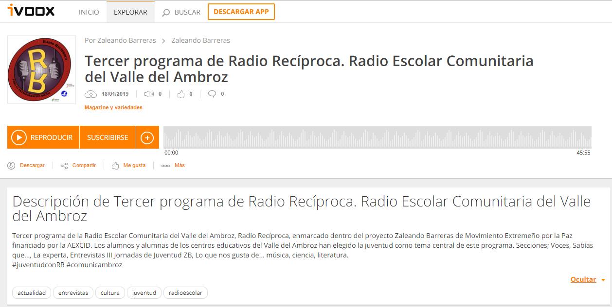 TERCER PROGRAMA de RADIO RECÍPROCA